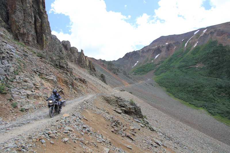 A BMW GS on the Ophir Pass