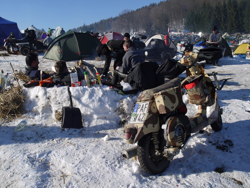 motorcycles in the snow at the Elephant Rally
