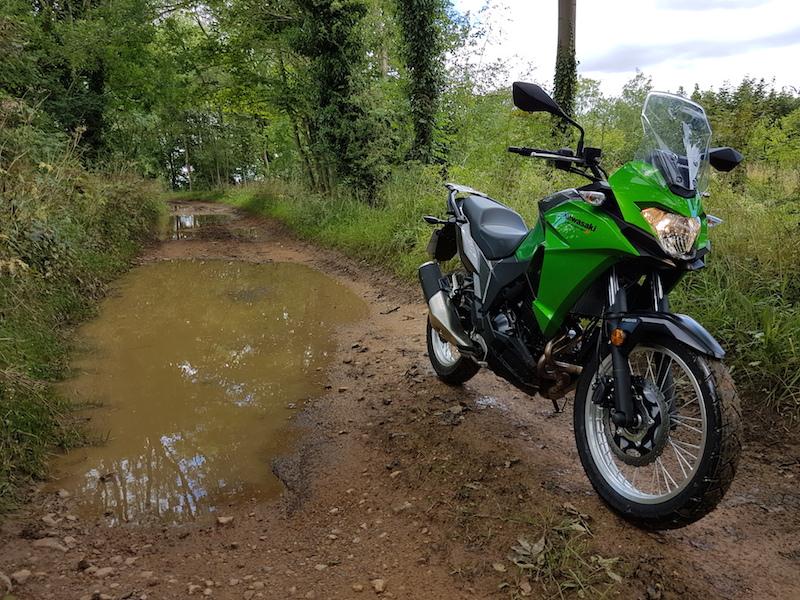 Kawasaki Versys-X 300 on a green lane