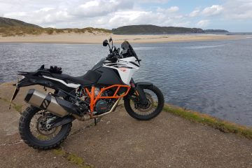 KTM 1090 Adventure R on a pier in Scotland