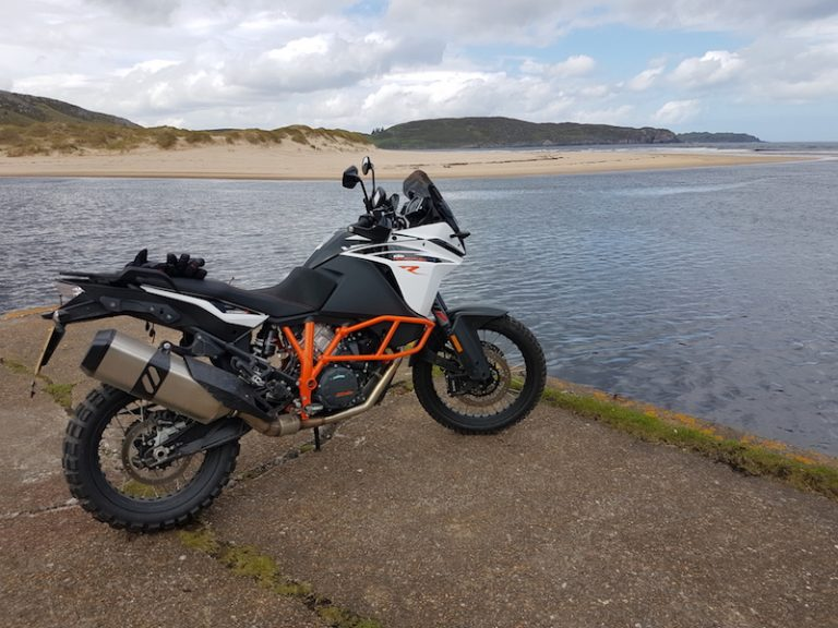 KTM 1090 Adventure R on a pier in Scotland