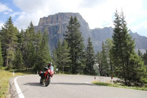A Ducati Multistrada on the Sella Pass