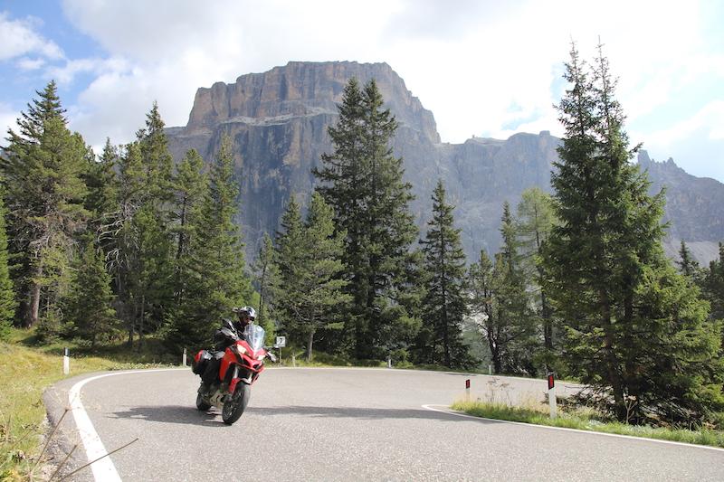 A Ducati Multistrada on the Sella Pass