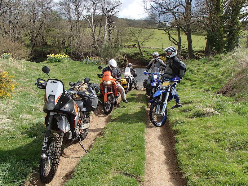 A group of friends trail riding in the UK