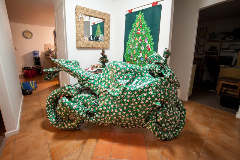 Wrapped up motorcycle Christmas