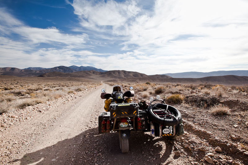 Ara and Spirit's sidecar in death Valley