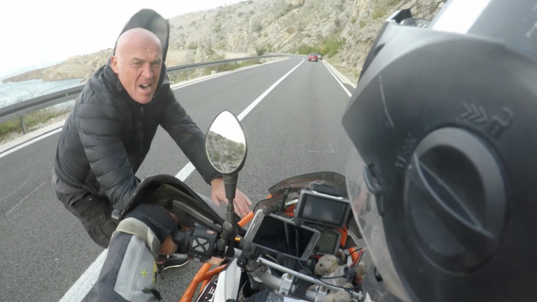 Motorcyclists saved by Bora wind in Croatia