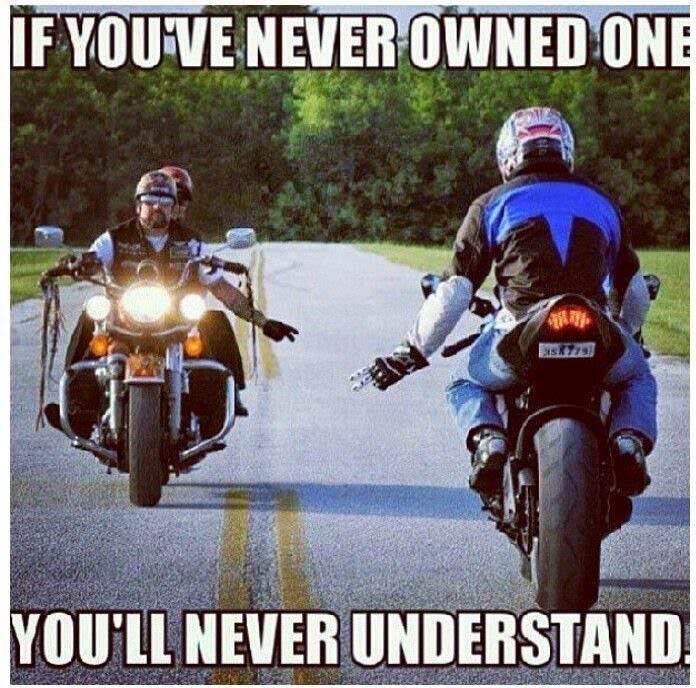 bikers waving