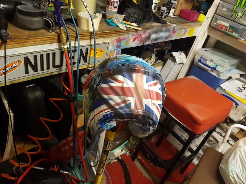 A union jack on a custom motorcycle helmet