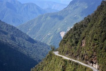 Death road in Bolivia, South America