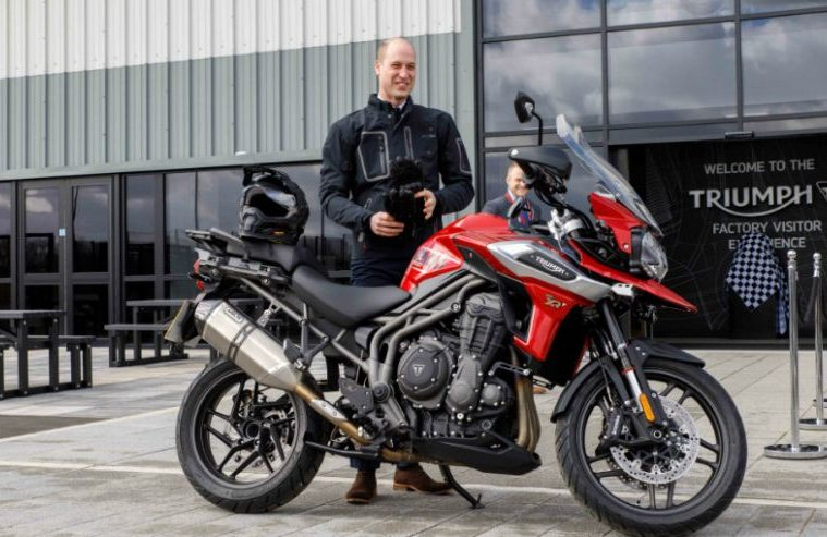 Prince William Triumph Motorcycles Hinkley on a Triumph Tiger 1200
