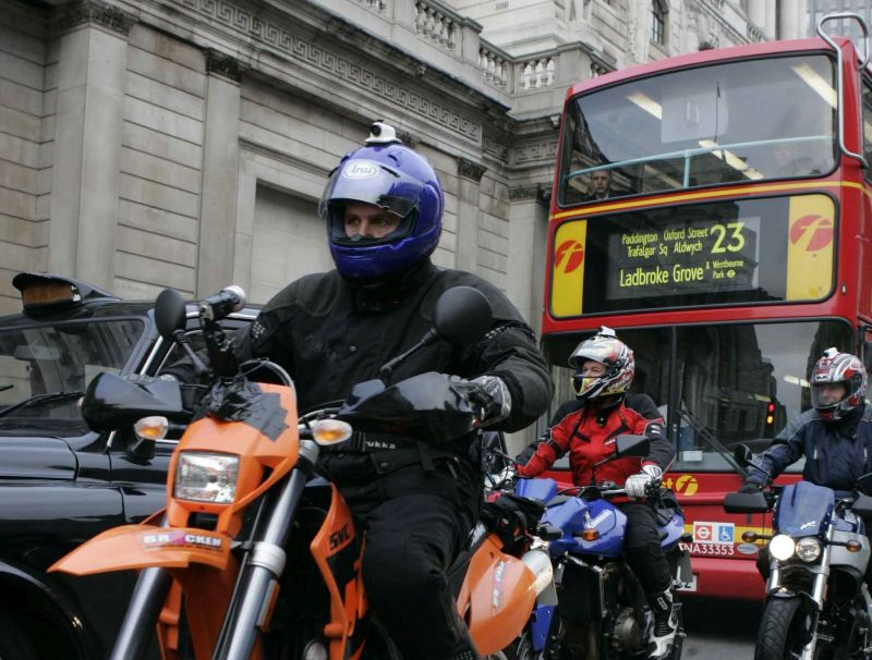 Motorcyclist riding in London
