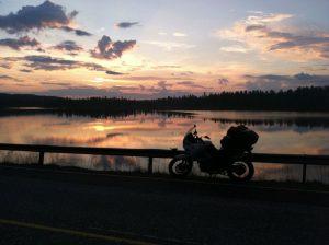 Sunset, motorcycle, lake