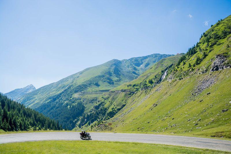 Motorcyclist mountain pass
