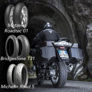 Image of a motorcyclist with three tyres, Metzeler Roadtech 01, Bridgestone T31 and Michelin Road 5