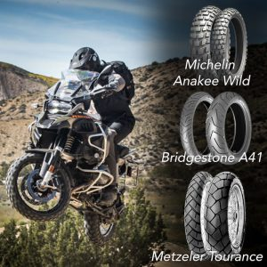 Image of an adventure motorcyclist with three different tyres, Michelin Anakee Wild, Bridgestone A41 and Metzeler Tourance