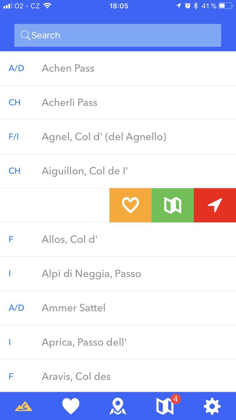 alpine passes screenshot bookmark and favourite