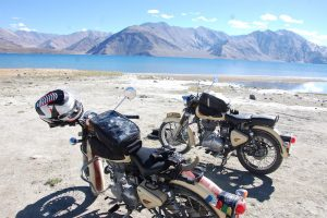 Enfield Himalayan motorcycles India mountains Lake Pangong