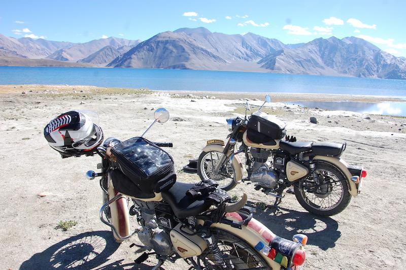 Enfield Himalayan motorcycles India mountains Lake Pangong