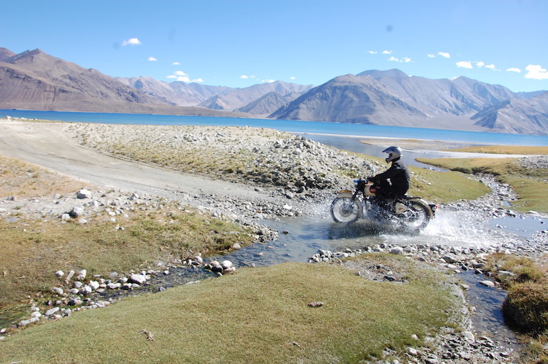 Off-road motorcycling Indian mountains