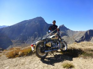 Royal Enfield motorcyclist India mountains