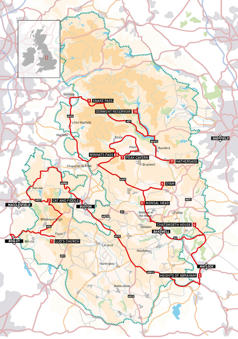 Peak District Motorcycle Route Map
