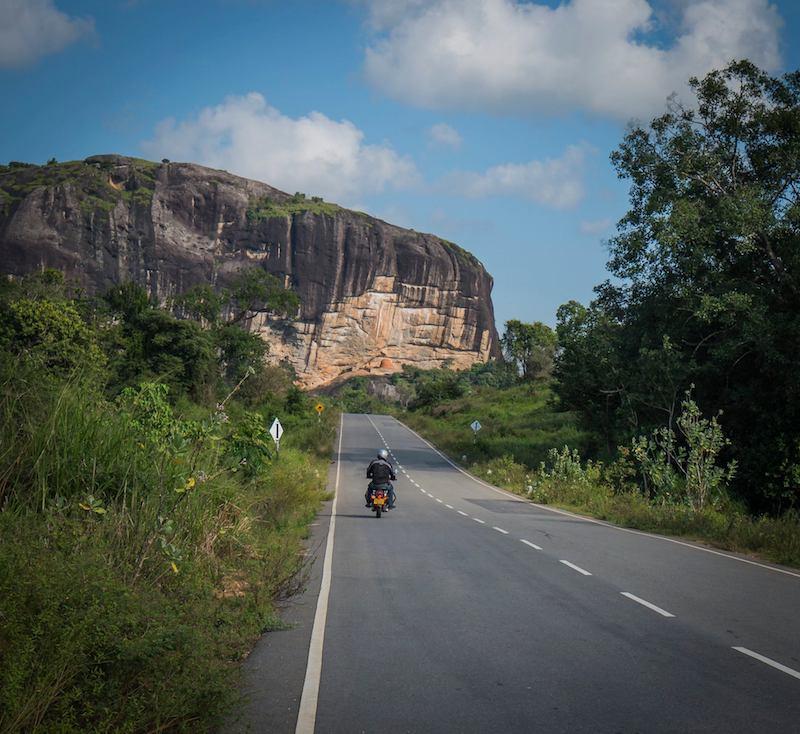 Motorcycle tour of Sri Lanka. Ancient City of Sigiriya is a UNESCO World Heritage Site.