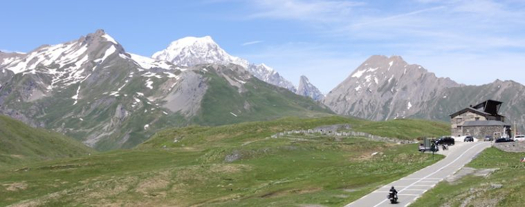 two motorcyclists on the petit st bernard pass