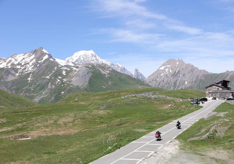 two motorcyclists on the petit st bernard pass