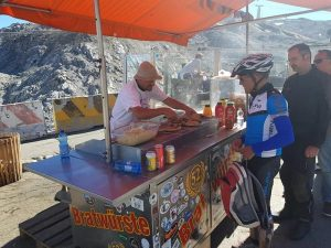 bratwurst at the summit of the Stelvio Pass, Italy