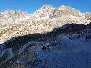 off-road on an Italian mountain pass on Ducatis
