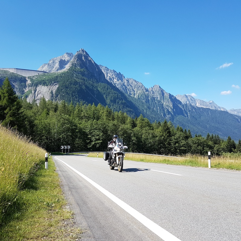 An Africa Twin on the Maloja Pass