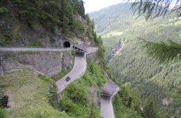 A motorcyclist on the splugen pass in Italy