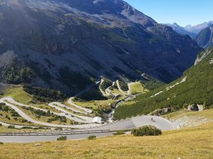 A view of the southern side of the Stelvio Pass