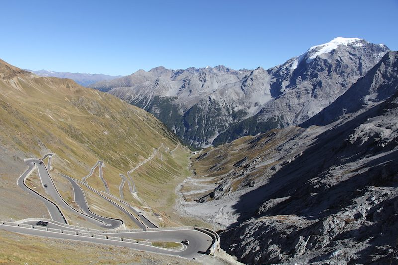 The view of the northern side of the Stelvio Pass