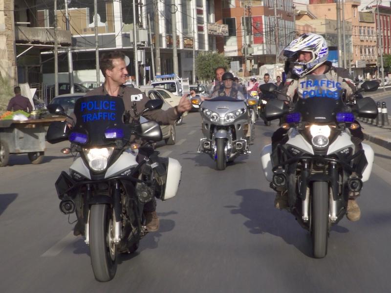Claudio von Planta and Billy Biketruck ride through Iraq. Bikers Beyond Borders.