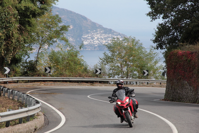 Red Ducati on the Amalfi Coast