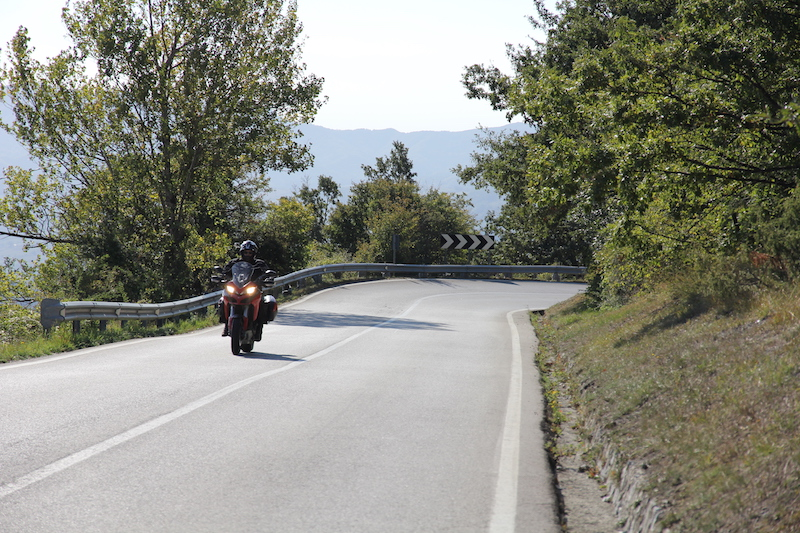 Red Ducati on the Futa Pass in Italy