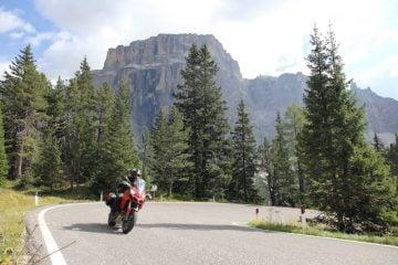 a red ducati multistrada on the sella pass