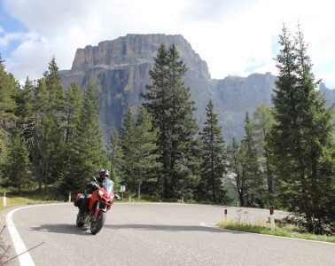 a red ducati multistrada on the sella pass