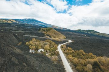 A road up mount Etna in Italy