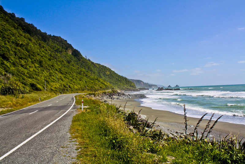 Riding a motorcycle through New Zealand on the West Coast Road