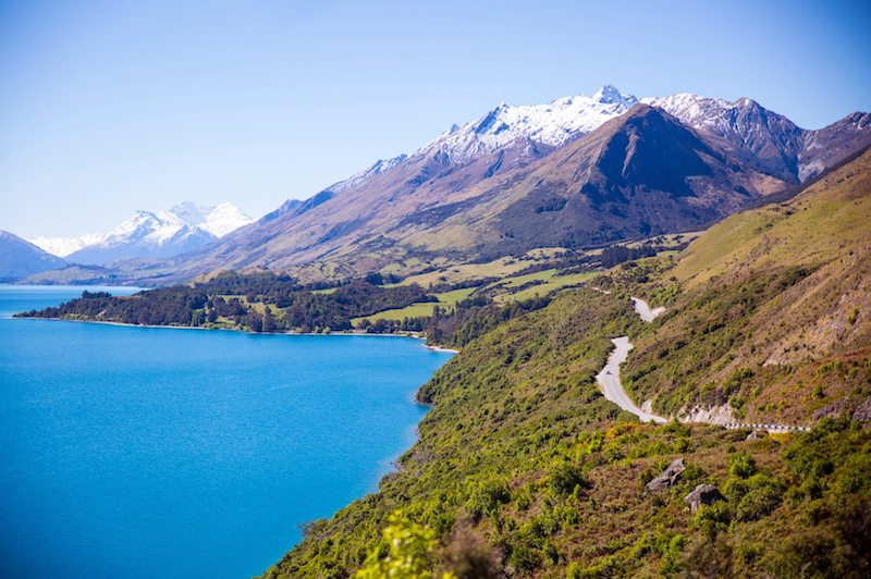 Motorycle touring in New Zealand. Bennett's Bluff lookout Glenorchy