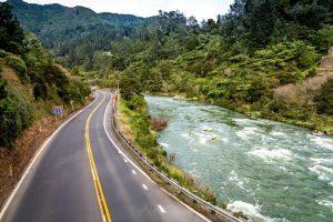 Motorcycle tour in New Zealand. Karangahake Gorge