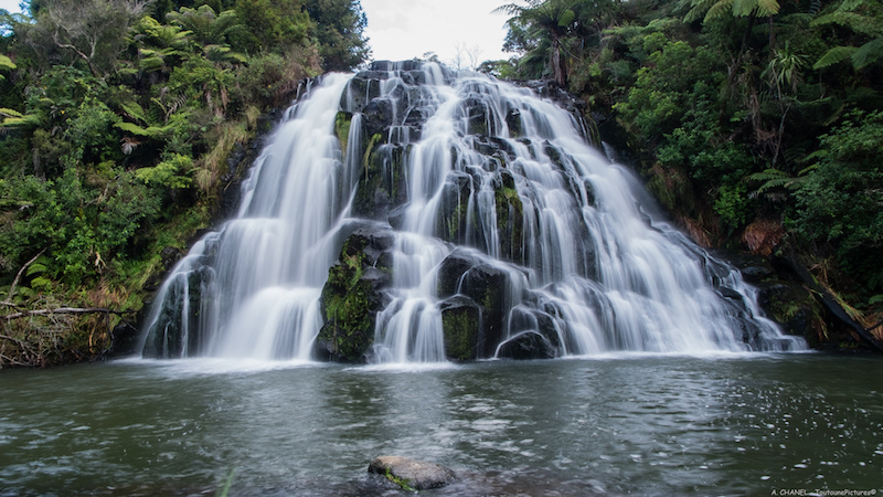 Motorcycle touring New Zealand Owharoa waterfall