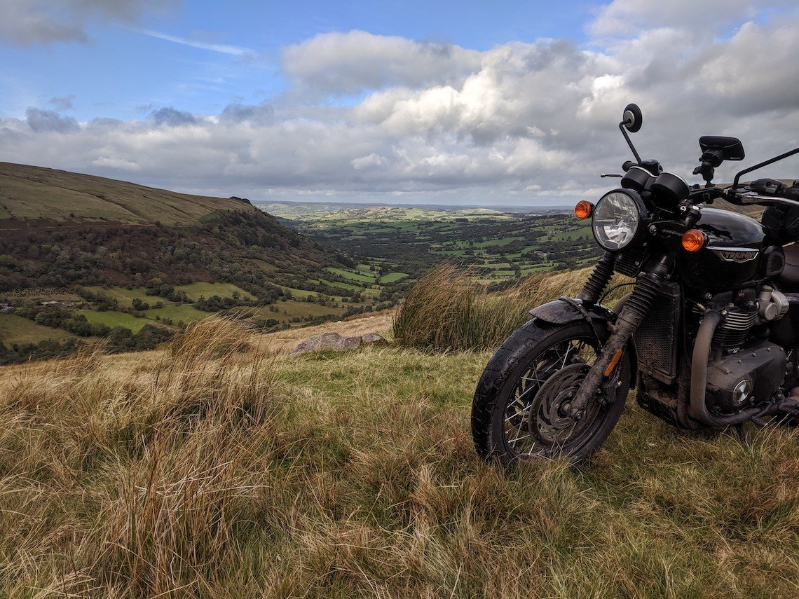 Motorcycle route through the Brecon Beacons