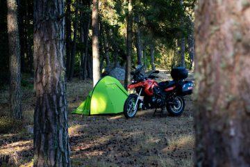Motorcycling camping