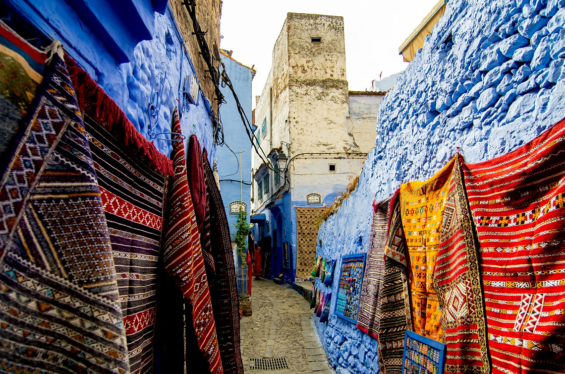 Chefchaouen's-blue-and-white-buildings