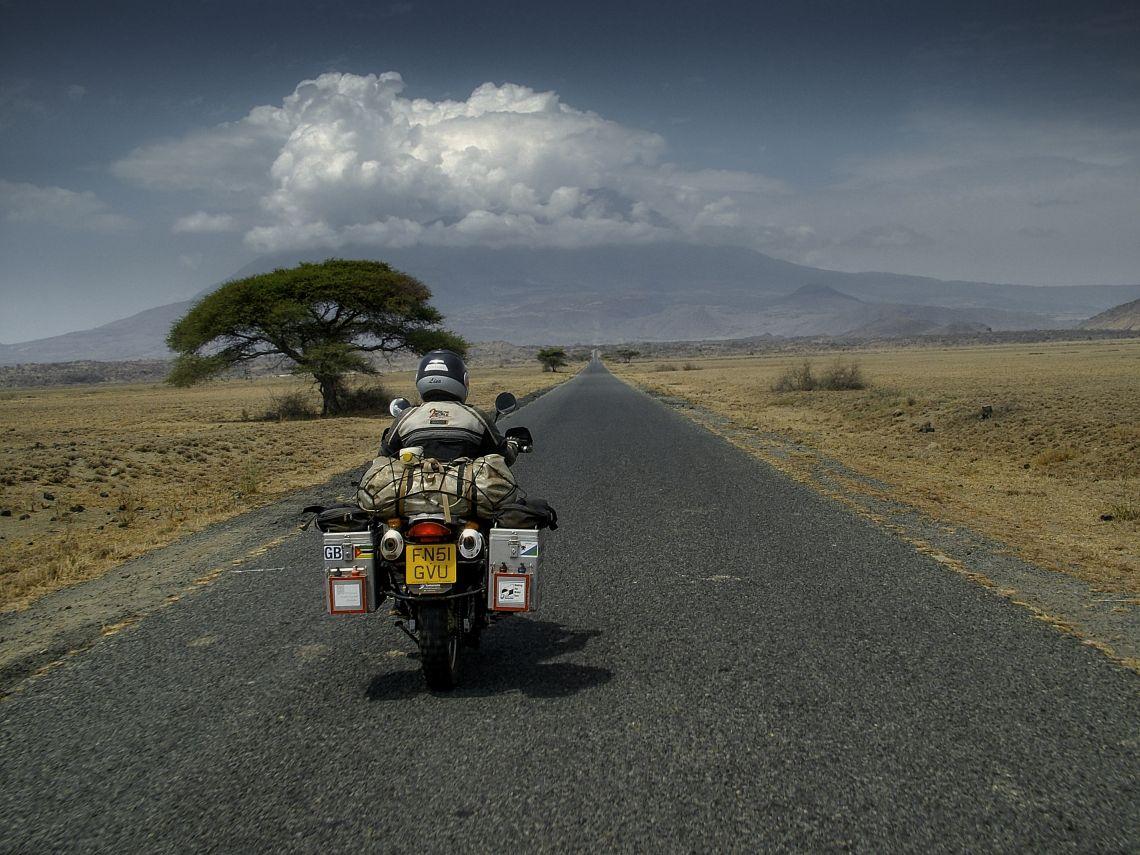 Riding through an africa savannah