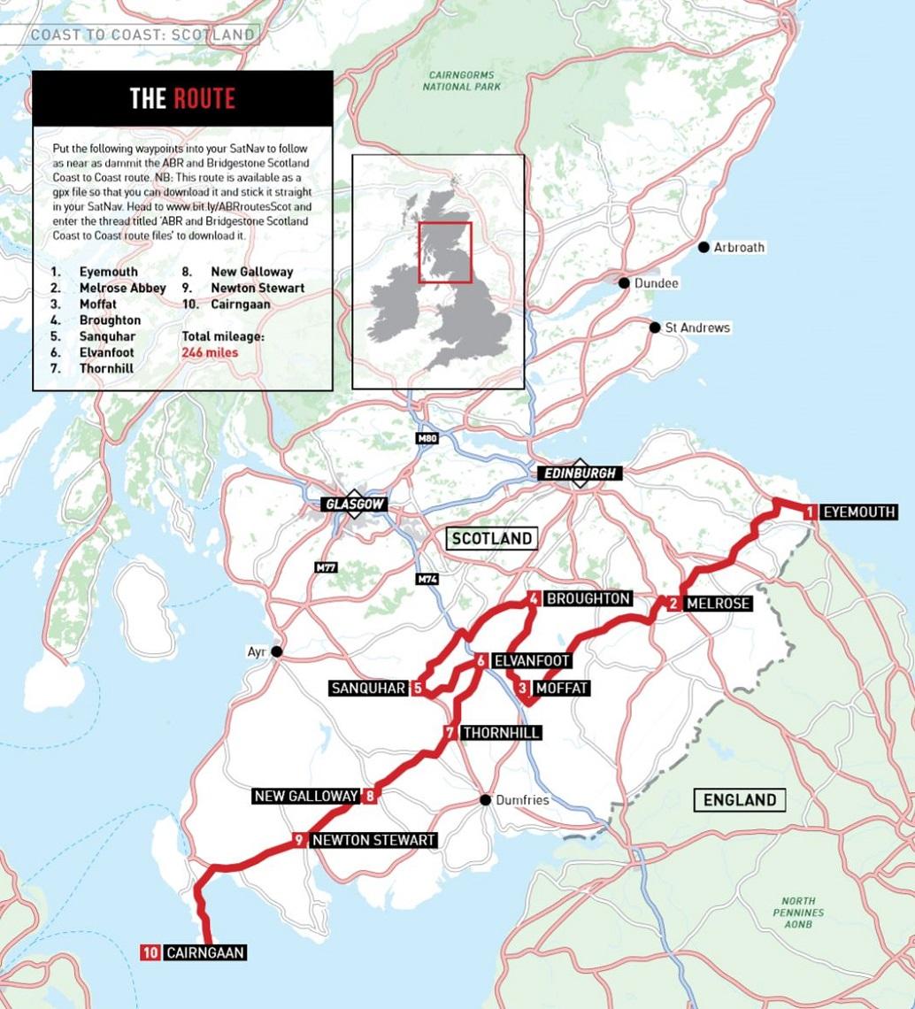 Route map coast to coast scotland